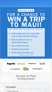 New York Post – Page Six Escape To Maui Sweepstakes