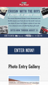 Pep Boys – Dream Cruise – Win a $1000 Pep Boys Gift Card
