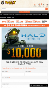 Spirit Halloween – Halo – Win $10000 cash in the form of a check
