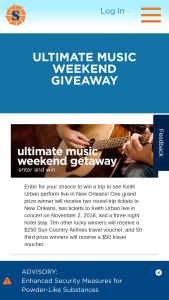 Sun Country Airlines – Ultimate Music Weekend Giveaway – Win roundtrip airfare for two (2) to New Orleans from November 2-5  2018 a 3-night hotel stay