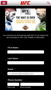 Ufc – 2018 Ufc/ Harley-Davidson Fight Tickets Giveaway – Win tickets to watch the UFC 229 Fight in Las Vegas NV on October 6 2018.
