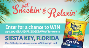 Mondelez Global Wheat Thins – 2018 Get Snackin' And Relaxin' Vending – Win a grand prize of a trip for 2 to Siesta Key, Florida OR 1 of 30 minor prizes of a $50 gift card each