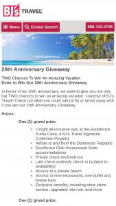Bj's Travel – 20th Anniversary Giveaway Sweepstakes