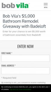 Bob Vila – $5000 Bathroom Remodel Giveaway With Badeloft Sweepstakes