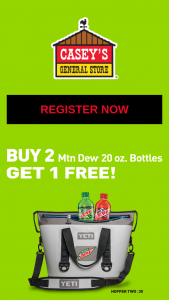 Casey's General Store – Mountain Dew Yeti-A-Day Giveaway Sweepstakes