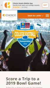 Choice Hotels – Comfort College Football – Win following prize