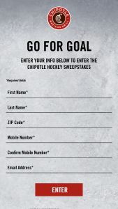 Cmg Strategy – Chipotle Hockey Chance-To-Win  Sweepstakes