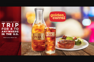 "Coca Cola – Gold Peak The Taste That Brings You Home At Golden Corral – Win GRAND PRIZE A VISA Prepaid card that may be used for a trip ""home"" within the 50 US"