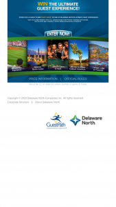 Delaware North Companies – Guestpath Guest Experience – Win the following Grand Prize that will consist of Winner's choice of one of the following five destinations  (1) A 4-day/3-night trip for four to Kennedy Space Center in Cape Canaveral