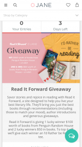 "Janecom – Jane Giveaway – Win House  a Reading Tee (1) one Third Prize as $50 in books from Penguin Random House  a Reading Tee (approximate total retail value or ""ARV"" of all combined prizes $500)."