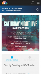 """Nbcuniversal Media – Saturday Night Live – Win will consist of the following one (1) trip for Winner and one (1) guest (""""Guest"""") to New York New York to experience Saturday Night Live – Dress Rehearsal (the """"Trip"""")."""