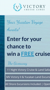 Ppi Group – Victory Cruise Line – Win which consists of a Victory Yucatan Land/Sea Safari (westbound).