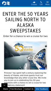 Princess Cruises – 50 Years Sailing North To Alaska Sweepstakes