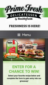 Smithfield – Prime Fresh Tailgate – Win $5000 check that will be awarded in the name of the confirmed winner