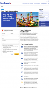 Southwest – Take Flight With Southwest – Win One Southwest Airlines Take Flight Flyaway package