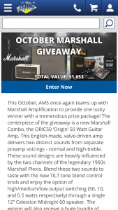 American Musical Supply October Marshall Giveaway Sweepstakes