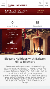 Balsam Hill – Elegant Holidays With Balsam Hill And Biltmore – Win award one trip for four (4) to Biltmore in Asheville NC