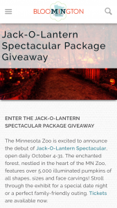 Bloomington Convention & Visitors Bureau – Jack-O-Lantern Spectacular Package Giveaway Sweepstakes