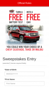 Bridgestone – Free Test Free Car – Win choice of a 2018 Chevy Tahoe 2WD LS sport utility vehicle ARV $45790 2018 Chevy Silverado 2500HD Crew Cab LT pickup truck ARV $51865 or 2018 Chevy Malibu LS w/11LS ARV $24425.