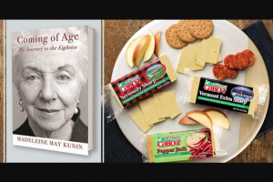 "Cabot Creamery – Madeleine Kunin Book Club Giveaway – Win $75 Cabot Creamery Gift Box (ARV $75) 20 Copies of ""Coming of Age"" (ARV $439) Skype Visit from Madeleine Kunin Total value of all prizes awarded $1028"