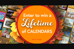 Calendarscom – Lifetime Of Calendars – Win of all prizes is $2398.50