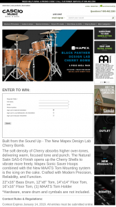 Cascio Interstate Music – Mapex Black Panther Design Lab Cherry Bomb Drums Sweepstakes