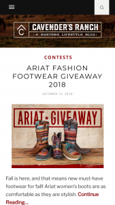 Cavender's – Ariat Fashion Footwear Giveaway Sweepstakes
