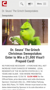 Cinemark – Grinch Christmas – Win Prepaid Card