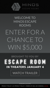 Columbia Tristar – Minos Escape Room – Win a check in the amount of $5000 USD