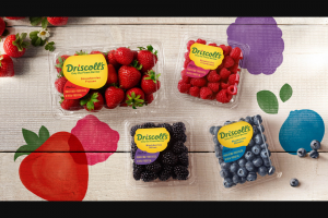Driscoll's – Share The Berry Joy – Win Year awarded as a $260 USD/$332.47 CAD (approximate conversion as of 10/1/18) Driscoll's VISA® pre-paid gift card