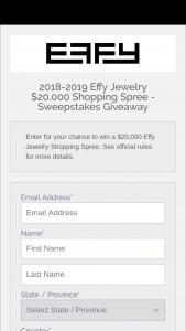 Effy Jewelry – $20000 Effy Jewelry – Win EFFY JEWELRY SHOPPING SPREE at Effy Jewelry's website at wwweffyjewelrycom