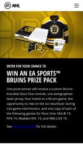 Electronic Arts – Boston Bruins Ea Sports – Win a Custom Boston Bruins branded Xbox One console