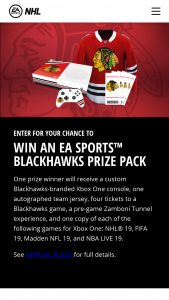 Electronic Arts – Chicago Blackhawks Ea Sports – Win a Custom Chicago Blackhawks branded Xbox One console