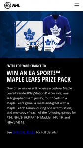 Electronic Arts – Toronto Maple Leafs Ea Sports – Win a Custom Toronto Maple Leafs branded PlayStation 4 console