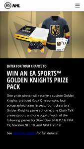 Electronic Arts – Vegas Golden Knights Ea Sports – Win a Custom Vegas Golden Knights branded Xbox One console