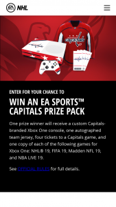 Electronic Arts – Washington Capitals Ea Sports – Win a Custom Washington Capitals branded Xbox One console