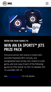 Electronic Arts – Winnipeg Jets Ea Sports – Win a Custom Winnipeg Jets branded PlayStation 4 console