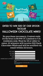 Enjoy Life Foods – Halloween Giveaway Treat Freely – Win 500 pieces of Chocolate Halloween Minis (ARV $222).