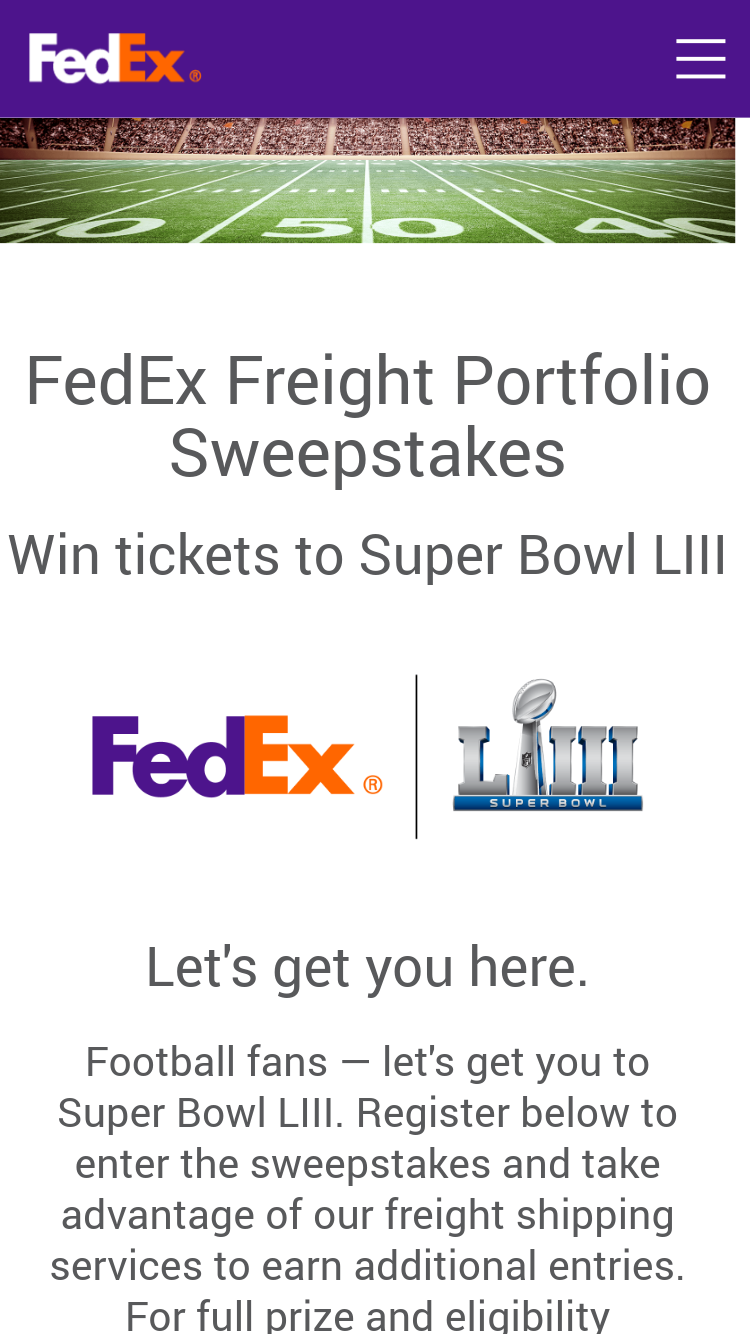 Fedex – Freight Portfolio Nfl Super Bowl Liii Sweepstakes ...
