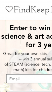 """Findkeeplove – """"3 Annual Science & Art Craft Subscriptions – Win consisting of all the following 3 Annual Science & Art Subscriptions to Green Kid Crafts Cash/Retail Value $645"""
