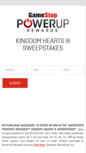 Gamestop – Powerup Rewards Kingdom Hearts Iii Sweepstakes