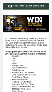 Green Bay Packers – 'fan Cave' – Win a Packers Crock Pot