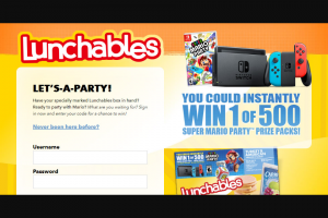 Kraft Heinz Lunchables – Mario Party – Win Switch system 1 pair of Joy-Con controllers 1 Super Mario Party video game 1 branded carrier case