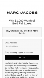 Marc Jacobs – Bold Fall Looks – Win one Gift Card to Marc Jacobs $1000.00.