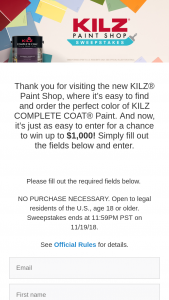 Masterchem Industries – Kilz Paint Shop – Win a $1000 Walmart® E-Gift Card and  Five (5) First Prize Winners each will receive One (1) $100 Walmart® E- Gift Card