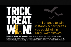 Mcdonald's – Trick Treat Win Game – Win a code valid for a one-night physical disc rental (DVD
