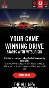 Mitsubishi Motors North America – Your Game Winning Drive Starts With Mitsubishi – Win a 2019 Mitsubishi Eclipse Cross Manufacturers Suggested Retail Price not to exceed $33465 (inclusive of estimated sales tax).
