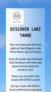 North & Mark – Takeoff To Lake Tahoe Sweepstakes