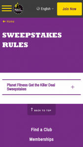 Planet Fitness – Get The Killer Deal Sweepstakes