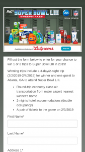 Procter & Gamble – P&g Superbowl Liii Sweepstakes